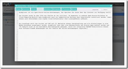 Pydio: Online-Editor für Textdateien