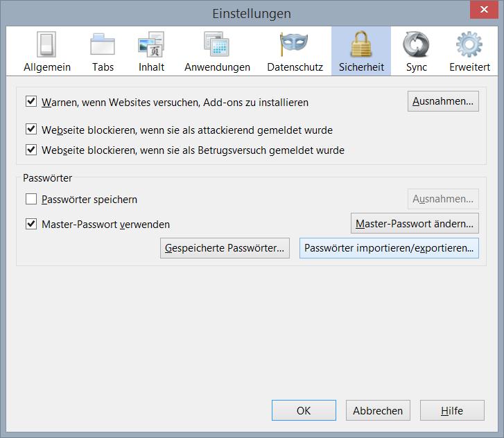Zugang zum Password Exporter in den Firefox-Einstellungen