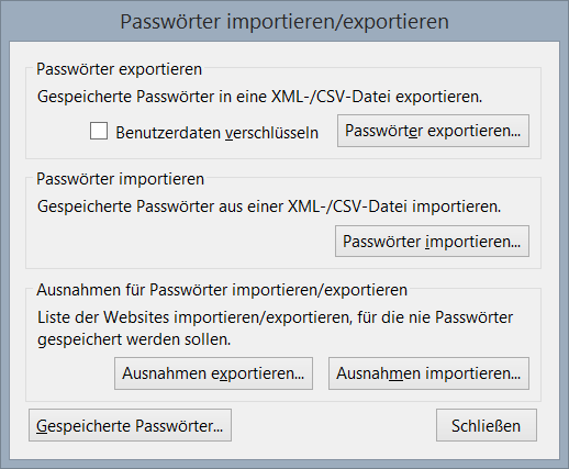 Password Exporter für Firefox: Der Import/Export-Dialog