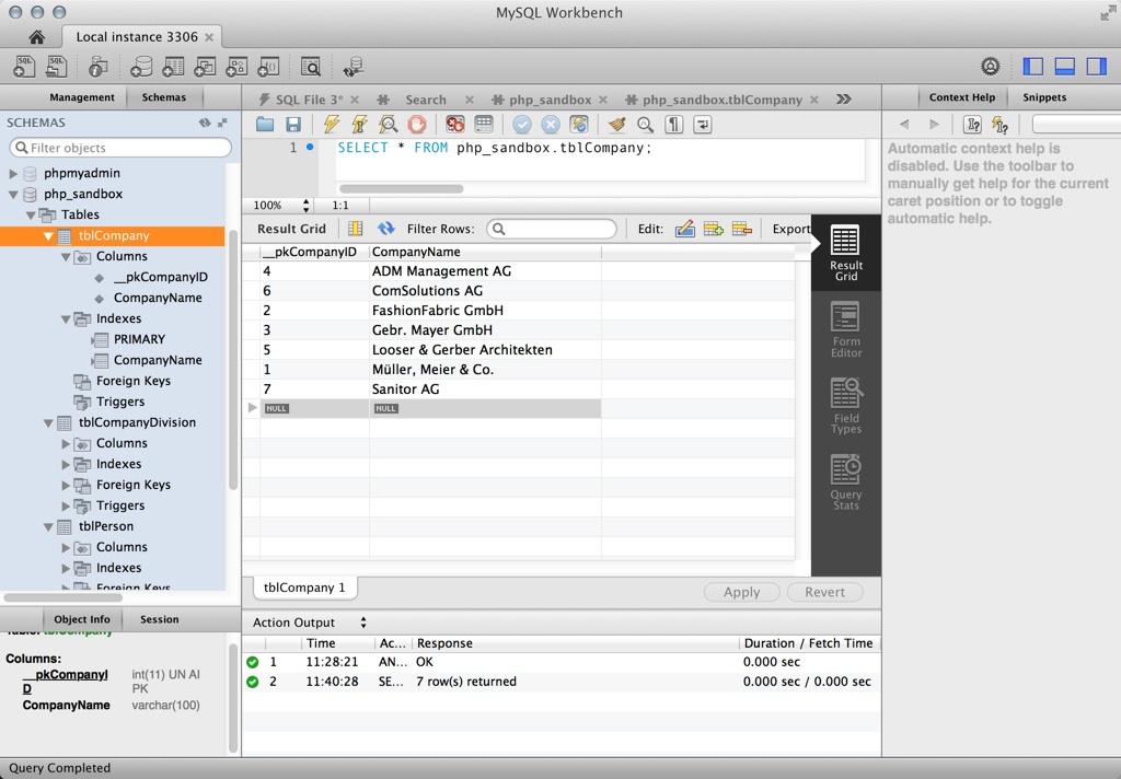 MySQL Workbench für Mac OS X: sehr leistungsfähig, aber etwas unübersichtlich und technisch