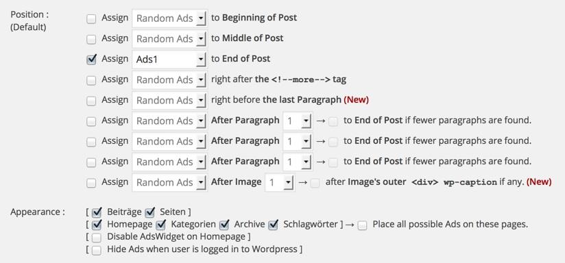 Quick AdSense: Einstellungen für automatisierte Anzeigenblöcke im Inhaltsbereich