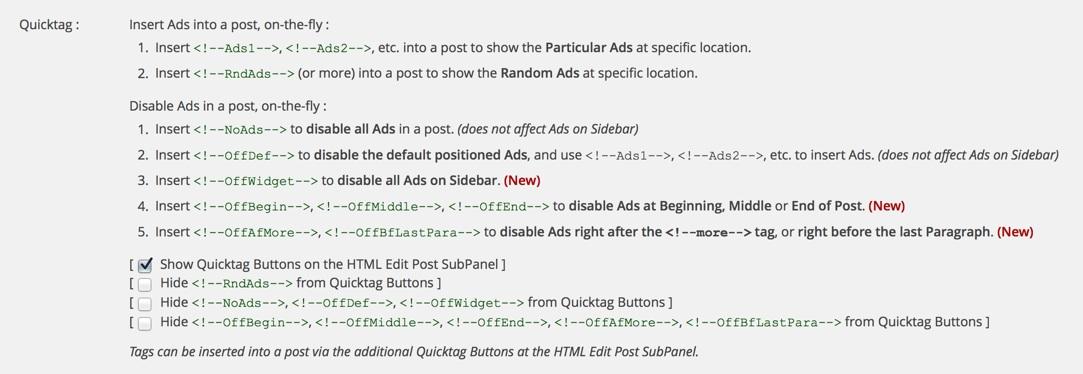 Quick AdSense: Tags zum manuellen Einfügen von Anzeigenblöcken in Blog-Artikeln