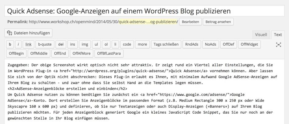 Quick Adsense: Über Buttons im Editor können Anzeigenblöcke auch manuell in Artikel eingebaut werden
