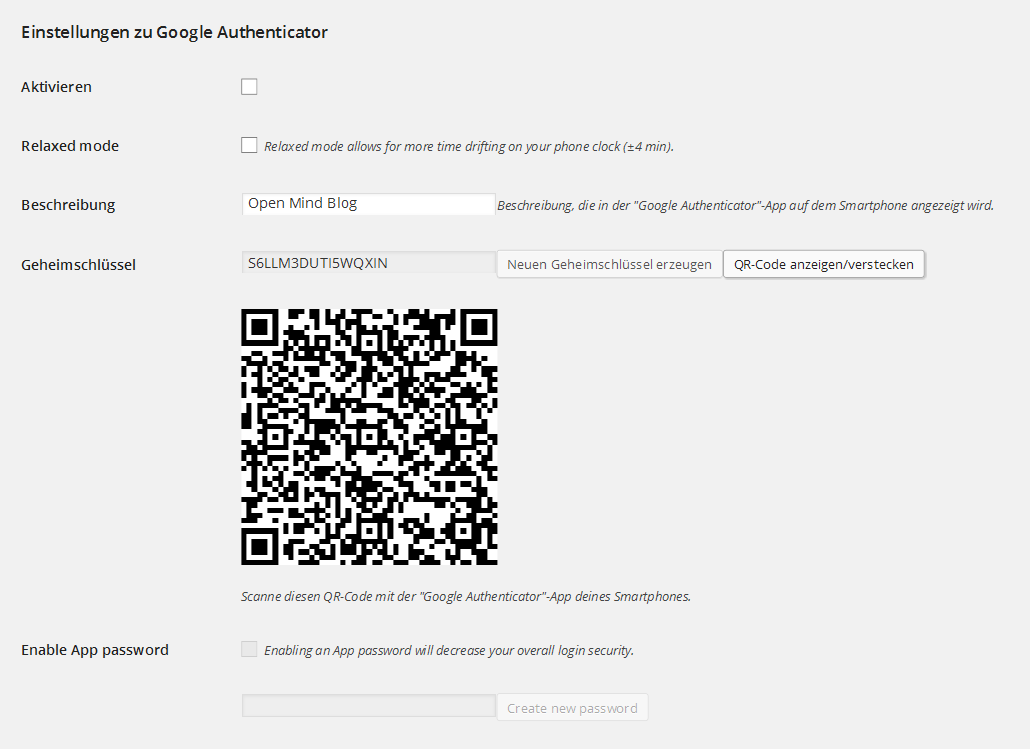 WordPress-Plugin Google Authenticator: Einstellungen im Benutzerprofil