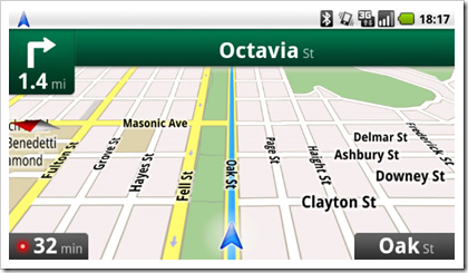 Screenshot: Google Maps Navigation auf Android 2.0